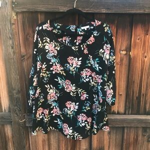 Pleione Black Floral Print 3/4 Sleeve Top